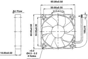 Ventola 60x60x10 12 Vdc su bronzine  4,500 giri