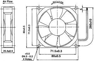 Ventola 80x80x25 24 Vdc su cuscinetto  3,000 giri